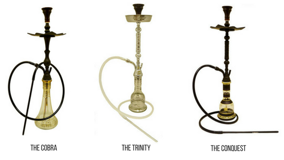 New Vapor Hookahs: The Cobra, The Conquest, The Golden Nile, and The Trinity